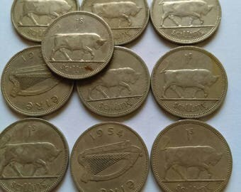 1S Irish vintage coins (10 coins per pack) 1954 onwards