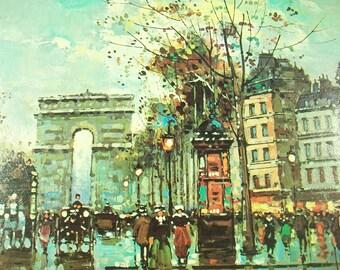 Vintage Antoine Blanchard Litho Print Paris Promenade, Museum Print Editions, France City Street Art