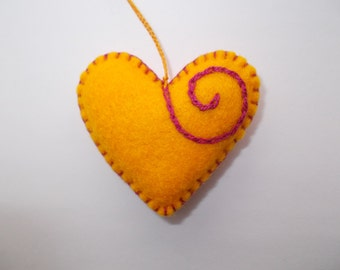 Love Heart Gift,Yellow Hanging Felt Heart,Valentine's Day,Wedding Decor, Embroidered Heart,Felt Pincushion,Bag Charm,Key Ring,Car Ornament