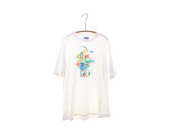 1996 Tropical fish tshirt Aquarium tshirt Angelfish tshirt neon tshirt fish tee white vintage 90s tshirt Huge Big and Tall Oversized tshirt