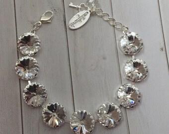 14mm Plain Crystal Swarovski Rivoli Bracelet in Silver Setting