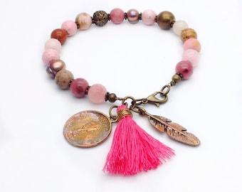 Pink gemstone bracelet with charms and tassel, layering charm bracelet, charm bracelets, tassel jewelry, bead bracelets, boho b