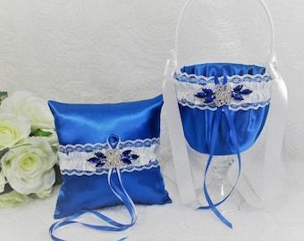 Royal Blue Flower Girl Basket & Ring Pillow Set, Blue Satin and White Ring Bearer Pillow and Flower Girl Basket, Blue Wedding Accessories