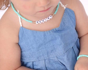 Toddler Necklace, Baby Necklace, Toddler Choker Necklace, Personalized Name Necklace, Name Choker Necklace, Mommy and Me Outfit, Baby Name