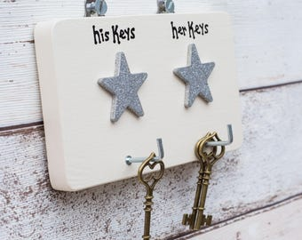 Key Hanger - Personalised - Key Holder -  5th (wood) Wedding Anniversary Gift - Wedding - New Home Gift - House warming Gift - Siop Gardd
