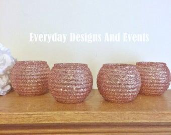 4 Rose Gold Glass Vases, Rose Gold Vases, Wedding Centerpieces, Rose Gold Centerpieces, Rose Gold Wedding, Wedding, Bridal Shower Decoration