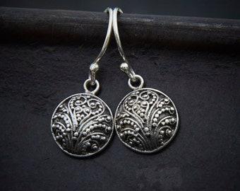 Silver Earrings, Silver Drops, Round Earrings, Granulation Earrings, Silver Granulation, Sterling Silver