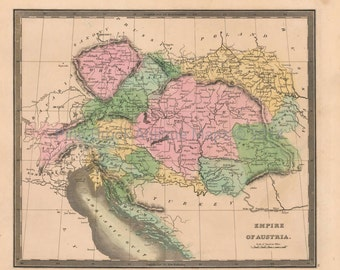 Austrian Empire Antique Map Greenleaf 1844 Original Austrian Decor Housewarming Anniversary Gift Ancestry History Gift