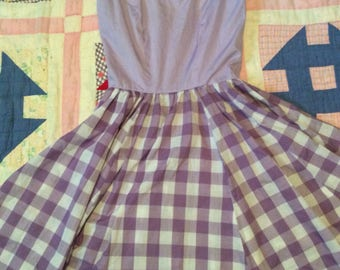 Vintage Purple and Plaid Handmade Dress