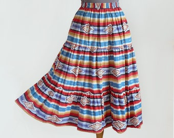 80's Southwestern Aztec Print Full Circle Tiered Midi Length Cotton Skirt by Circle T Marilyn Lenox / Bohemian Gypsy Festival