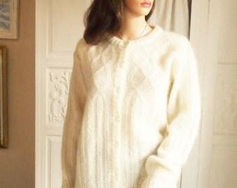Cream mohair cable knit cardigan Unworn cream wool cardigan Cream cardigan, sweater Cream mohair sweater Vert Monde cream cardigan knitwear