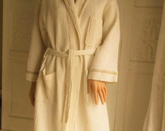Unused unisex natural cotton robe Cream cotton dressing gown Hotel style cotton robe dressing gown Pure cotton wrap over robe Waffle weave