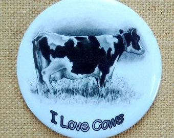 Holstein Dairy Cow Fridge Magnet , Original Drawing, I Love Cows, Three Inch Round Art Magnet, Black and White Cow