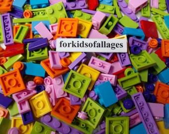 200 Lego Small Bricks Flat Plates Tiles Friends Girl Bright Colors Pink Purple Azure Lime Orange+