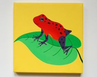 "Original Frog painting, Strawberry Dart Frog, Poison Dart Frog Art, Frog decor for boys room, Amphibian art, Tropical frog, 8"" x 8"" canvas"