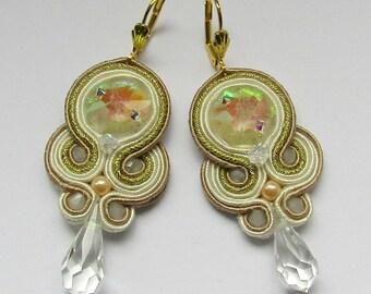 Soutache Earrings Cream - Gold