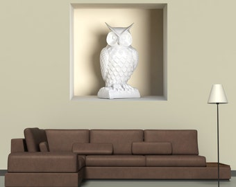 Wall decals 3D illusion Owl 2 A477 - Stickers 3D illusion chouette A477