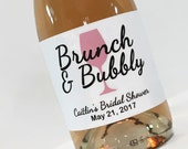 Brunch and Bubbly Bridal Shower  Favor - Mini Champagne Labels - Custom mini champagne bottle labels