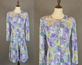 50% OFF FLASH SALE / Japanese Vintage Water Color Dress / Retro Dress / Fishtail Dress / Spring Summer Dress / Made in Japan / Size Medium