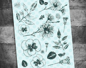 Leave and Flowers stamps unmounted Rubber Stamp sheets, bible journaling stamps, art journal stamps, floral stamps, Starving Artistamps