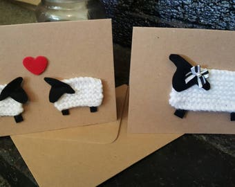 Handmade knitted sheep card