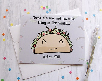 Taco Greeting Card, Love Card, Valentine Card, Romantic Card, Funny Greeting Card, Cute Note Card, Silly Taco, Boyfriend, Girlfriend Gift