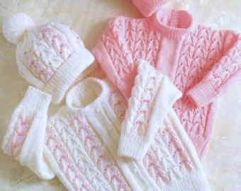 Baby Knitting Pattern pdf Cardigan Sweater Hat