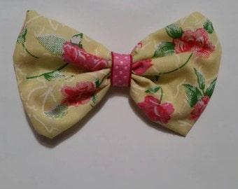 Yellow flower hair bow
