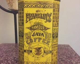 FREE SHIPPING - Vintage Franklin's Java Coffee Tin