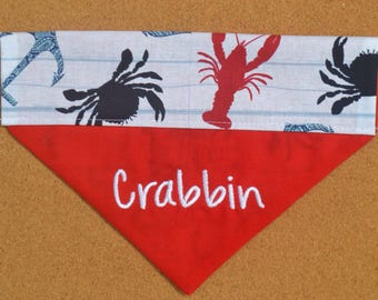Crabbin' ~ Personalized / Reversible ~ Over The Collar Dog Bandana