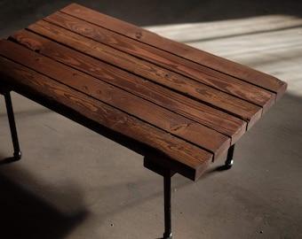 Industrial Handmade Coffee Table: Rustic Walnut