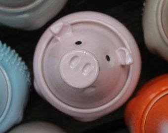 Jar With Pig - Sugar Bowl - Ceramic Pig - Pink Pig - Cute Pig - Colorful Pottery Jar - Handmade Jar - Pottery Jar - Ceramic Jar