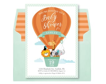 Animals in a Hot Air Balloon Baby Shower Invitation / Gender Neutral  Shower Invitation / Hot Air Balloon Invite, Cute Jungle Animals