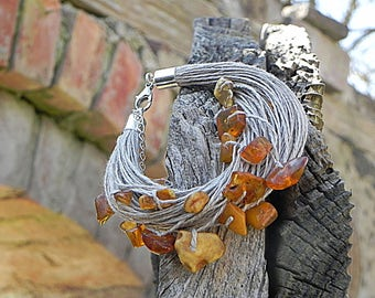Rough Amber Bracelet Amber Linen Bracelet Linen Natural Bracelet Natural Baltic Amber Natural Cord Jewelry Summer Fashion Eco Friendly