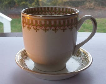 1920s J G Meakin England Demi-Tasse Cup Saucer / Small Cup Saucer Ivory Green and gold trimmings / sweet cup and saucer set / decorative cup