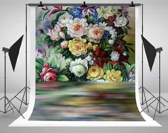 Kate Digital Printing Colorful Flowers Photography Backdrops Hand Painted Photo Backgrounds for Wedding Studio Props
