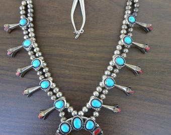 Vintage Native American Squash Blossom Necklace Signed, Sterling Silver With Sleeping Beauty Turquoise and Coral