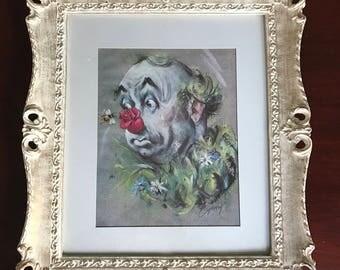 Clown Framed Print by Artist Cydney Gossman, The Bumble Bee Clown Signed Cydney in Original Vintage Frame, Circus Clown Art