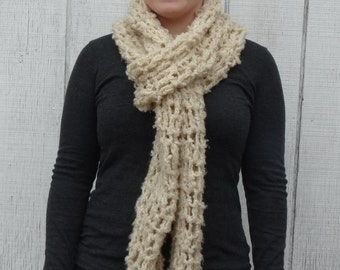crochet scarf, cream scarf, soft scarf, extra long scarf