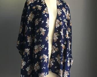 Navy Vintage Floral Romantic Kimono