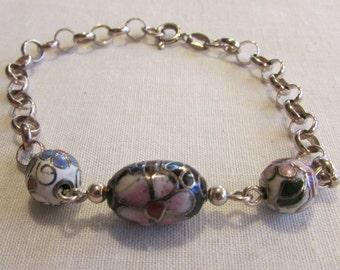 Sterling Silver and Cloisonne Bead Link Bracelet