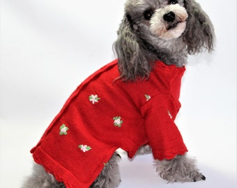 Dog SWEATER XS Upcycled Red Floral Knit