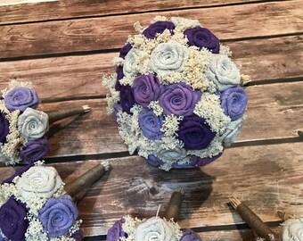 Purple,Violet,Lavnder, Ivory Bridal Bouquets, Burlap Bouquets, Bridesmaids Bouquets, Burlap Wedding Bouquets, Rustic Bouquets, Flowers