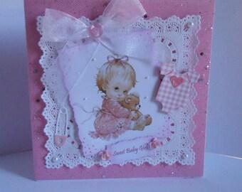 BABY GIRL,  Handmade, Celebration, Daughter, Grandaughter, Birth, Parents, Pink,  Pretty, Bows