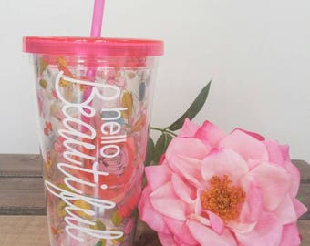 Floral tumbler. Customize with your own saying, name, etc.  Wedding party gift.