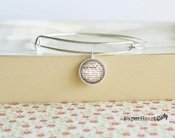 Bookworm Bracelet - Bookworm Jewelry - Dictionary Word Charm - (S6404)