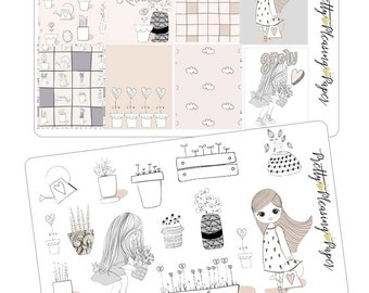 Doodle Girls Grow Love Sticker sheets for Planners and Scrapbooks
