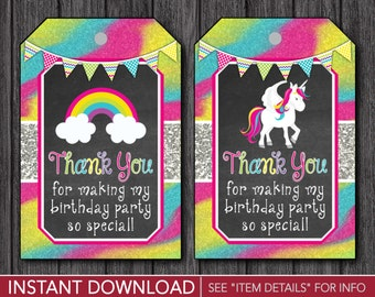 Unicorn Favor Tags -  Unicorn Thank You Party Favor Tags - Printable Digital File - INSTANT DOWNLOAD
