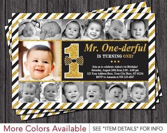 Mr. ONEderful Birthday Invitation • Mr ONE-derful First Birthday Invitations • Newborn to 12 months, Black and Gold