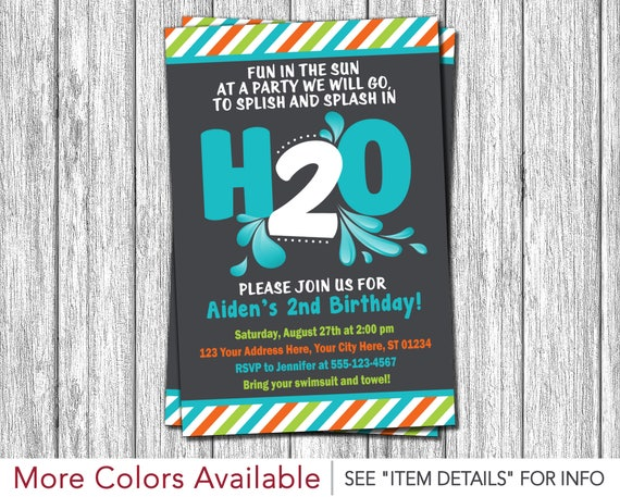 H2o birthday invitation h20 water party splish splash 2nd il570xn stopboris Gallery
